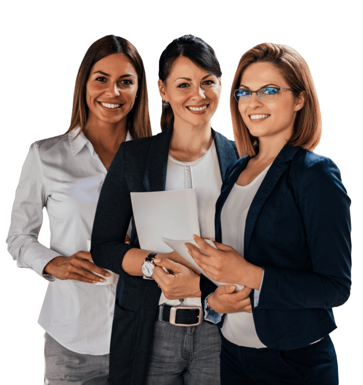 Three professional women with healthy smiles