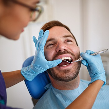 Man receiving dental checkup